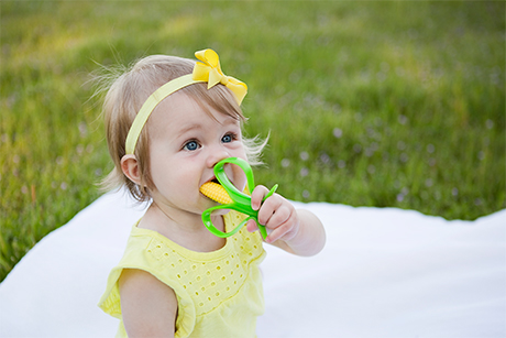 Baby Banana Corn Cob Infant Toothbrush with Handles Green//Yellow